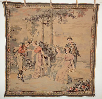 Antique French Tapestry Lot 4 Colonial Fashions People in Garden Soldier Officer