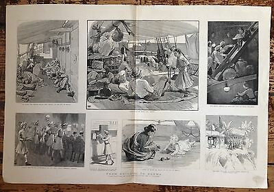 Antique Etching Print - Tea Trade From Brindisi to Burma, India, Ship, 1886