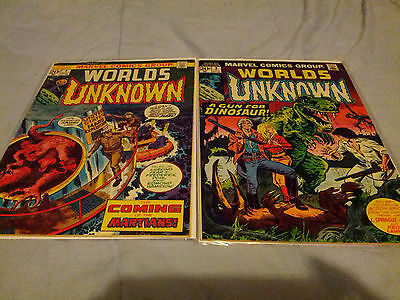 Worlds Unknown Marvel Comic Book lot #1 and 2 GOOD LOOK!!!!!!!