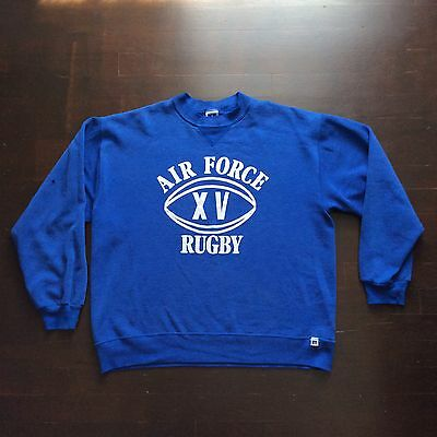 Vintage Air Force Rugby Thrashed 80s Blue Sweatshirt  XL Fits Men XS Womens S/M