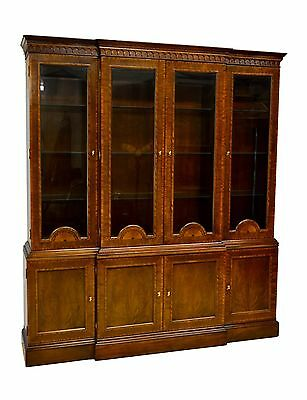 Councill Craftsmen 2pc Mahogany Banded Inlaid China Cabinet Breakfront