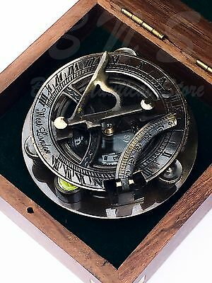 Sundial Compass Nautical Maritime Vintage Pocket Watch Solid Brass Antique 3""