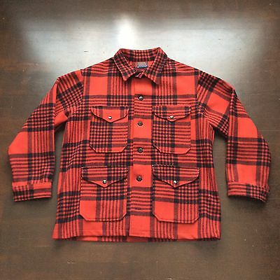 Vintage Red Black Plaid Wool Pendleton Hunting Jacket Mens XL