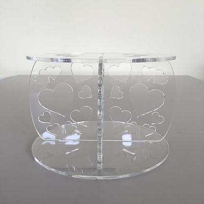 Hearts Design Round Wedding/Party Cake Separators - Clear Acrylic