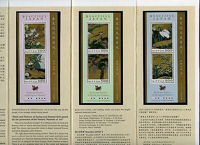 Japan 2017 Gemälde Vögel Blumen Blocks Paintings Birds Flowers Folder Postfrisch