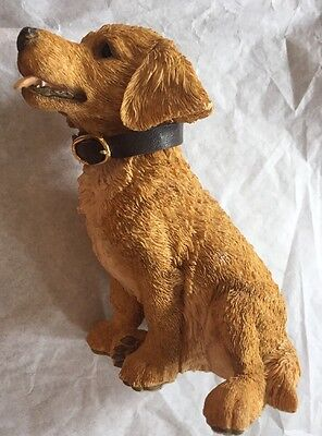 Vintage Barkers hand painted golden retriever figurine with leather collar