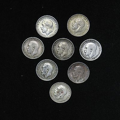 lot of 8 Great Britain Three 3 Pence silver coins 1911 1912 x5 1913 x2 some high