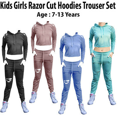 Kids Girls Hooded Ripped Cropped Lounge wear Joggers Tracksuit CHILDREN