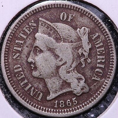 1865 3 Cent Copper Nickel R6AM2