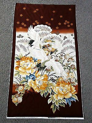 Oriental crane Japanese Asian fabric panel cotton quilting gold metallic flowers
