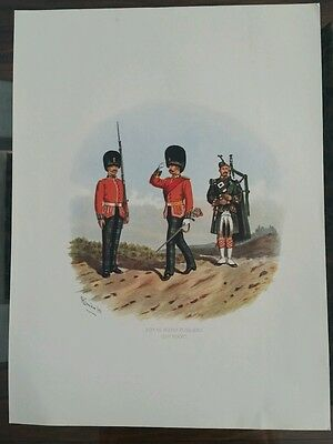 Antique Print of Royal Scots Fusiliers (21st Foot) R Simkin/91 Military  Army