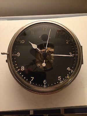 Large Vintage Brass Marine Open Face Mechanical Movement Ships Bulkhead Clock