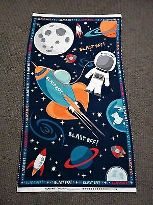 Outer Space Fabric Panel Rocket Shuttle Spaceship Astronaut Planet Moon Quilting