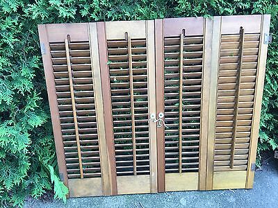 "PAIR Vintage Pine WOODEN LOUVERED SHUTTERS 28"" TALL/32.25"" TOTAL WIDTH 4 Panels"