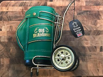 OLD ST. ANDREWS SCOTCH Green LEATHER GOLF BAG BOTTLE HOLDER Caddy Whiskey Wheels