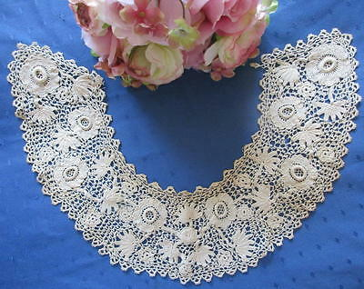 Lovely Antique Hand Made Irish Crochet Lace Collar~Rings~3D Roses~Palms