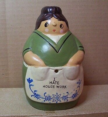 Antique String Holder Chalk Ware ? Ceramic ? Woman HouseWife Made in japan Nice