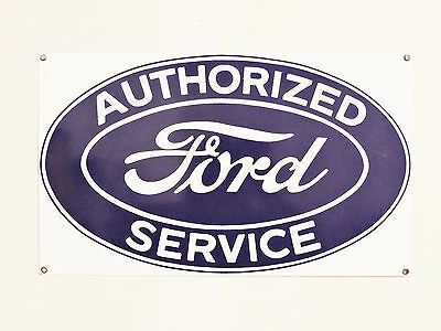 Vintage Sign - AUTHORIZED  FORD  SERVICE - Porcelain on Steel  (Heavy)