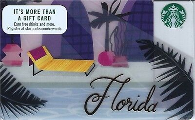 Starbucks collectible gift card:  2017 Florida palm trees pool -No Value