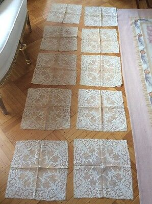 OMG 10 Antique VTG Doily NAPKINS PLACEMATS POINT DE VENISE? NET LACE FRENCH? OLD