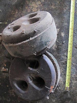 dead eye pulleys pair of off old sailing ship