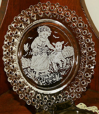 Victorian Pressed Glass Reticulated Dish w/ Painted Pastoral Girl & Lamb
