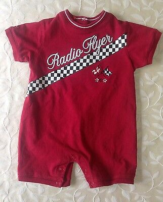 Radio Flyer Infant Baby Boy Size 12 Months Red Short Sleeve One Piece Romper