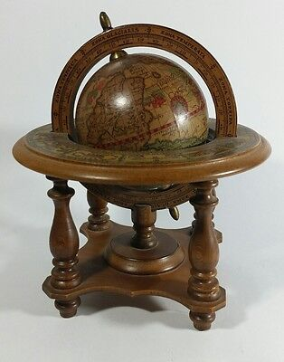 "Vtg Zodiac Signs Old World Spinning 3.5"" Diameter Globe Wood Stand Base Italy"