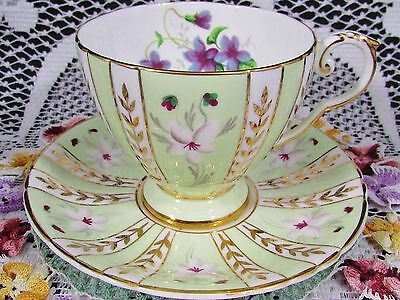 Royal Grafton Studio Craft Violets Gold Green Tea Cup And Saucer