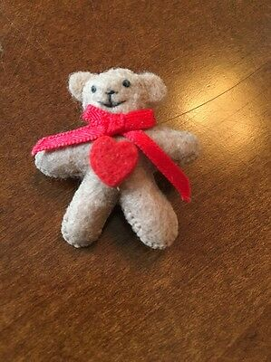 Vintage 80s Teddy Bear Heart Bow Felted Pin Brooch Crafting Projects Miniatures