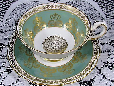 Paragon Sage Green Ornate Gold Gilt Designs Tea Cup And Saucer