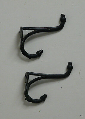 2 matching vintage antique  Cast Iron Double Coat  hooks acorn tops