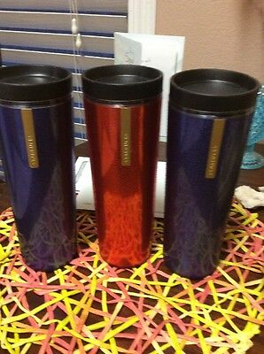 2013 Starbucks Coffee Water Droplet Textured 16 oz Travel Tumbler Cup Lot 3
