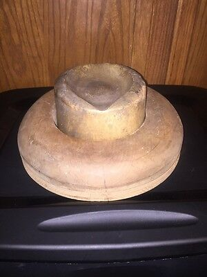 Antique Wood Millinery Hat Crown & Brim Block Mold Form M.H.S Co. 1928