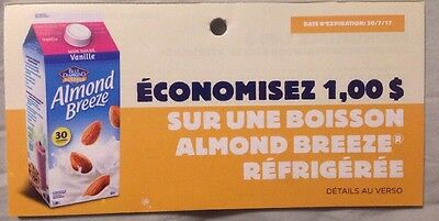 Lot 10 x 1.00$ Almond Breeze of Blue Diamond Products Canada Coupons