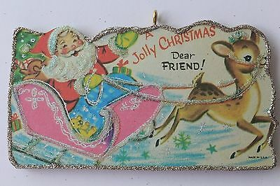 Santa in Pink Sleigh  * Christmas Ornament * Vintage Card Image * Glitter
