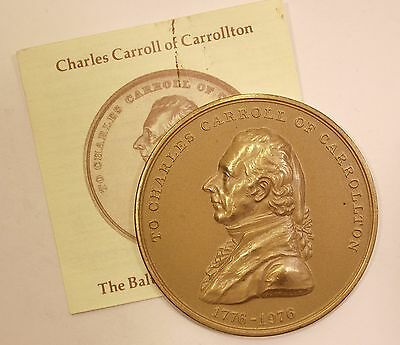1976 Charles Carroll US Mint Medal Bronze w Pamphlet Declaration of Independence