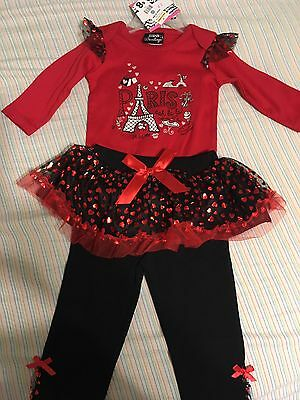 NWT Infant Girls Size 6/9m Red & Black 2pc Pant Set