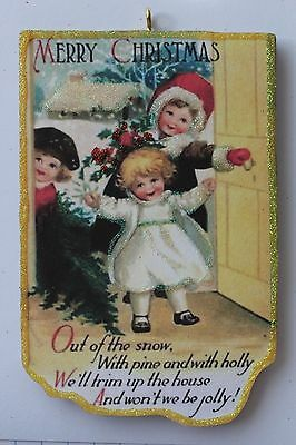 Children Bringing a Tree Home* Christmas Ornament * Vintage Card Image * Glitter
