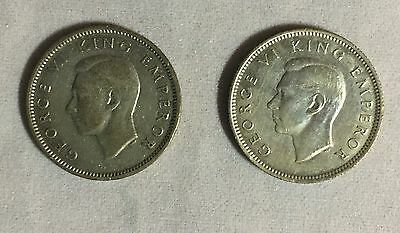 New Zealand 1943 and 1944 Six Pence Silver Coins