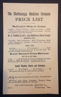 Antique 1890's Chattanooga Medicine Company Price List,Tennessee, Black Drought