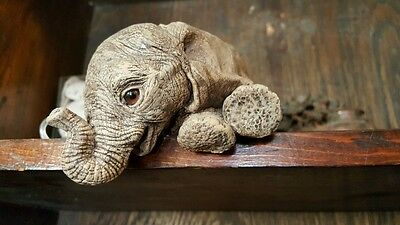 """Retired 1987 Martha Carey The Herd  Collection """"WOOLY"""" 3102 Elephant  Sculpture"""