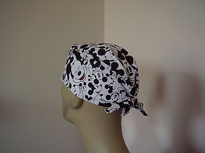 Surgical Scrub Cap/Hat-Tieback -Mickey Mouse Faces -Handmade- One size