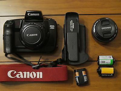 Canon EOS A2E 35mm SLR Film Camera Body With 2 Prime lenses And Extras