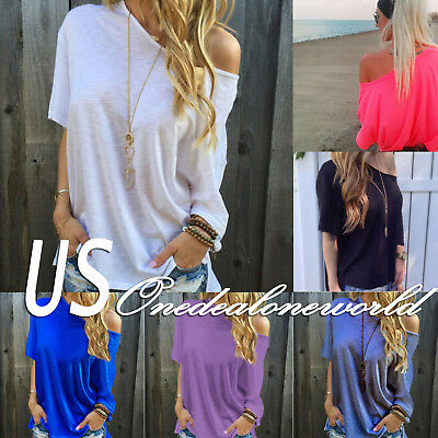 Womens One Shoulder Summer Loose Tops Ladies Casual Short Sleeve Blouse T-Shirt