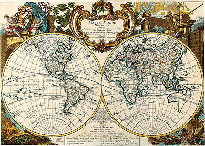 Map of the World Double Hemisphere 1744 A1 High Quality Canvas Art Print