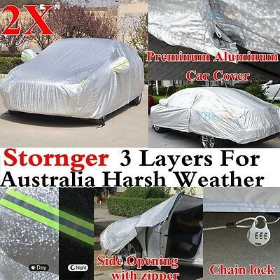 2X 3 Layer Rain Waterproof Double Thicker Car Cover Rain Resistant Anti UV Dust