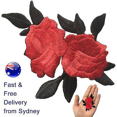 Two Roses with leaves Iron on patch - red rose flower blossom embroidery patches