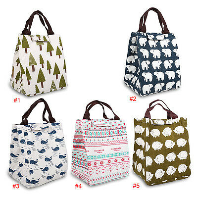 Handheld Insulated Thermal Cooler Lunch Box Carry Tote Picnic Storage Bag Canvas