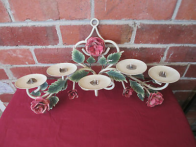 Vintage Shabby Chic  Metal Roses & Leaves  Candle Wall Scone-Holder